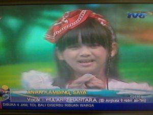 Wulan Zihantara at Ayo Bernyanyi TVRI sekolah SD Angkasa 9 Jakarta Timur Note:Bukan news presenter dari TV Manapun